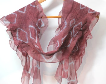 Silk Felt Scarflette In Stock Fast Ship sheer cashmere-soft merino in Nutmeg and Smoke