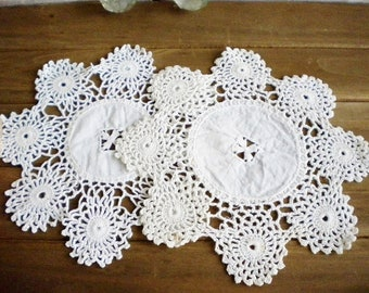 Wedding Crochet Battenberg Lace Dollies Set Of 2 Shabby French Vintage Dollies, Romantic, Crafters Lot  7 Inch, Soft White
