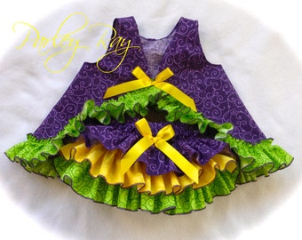Parley Ray Mardi Gras Ruffle Pinafore Dress with Ruffled Baby Bloomers / Diaper Cover