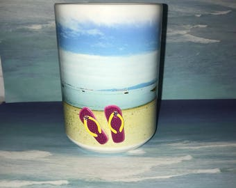Coffee cup on the beach, 3d cup, Relaxing cup, funny cup, Administrative Professionals Day Gift / Office  Mug Coffee Cup Secretary Gift
