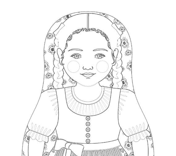 Austrian Doll Traditional Dress Coloring Sheet Printable