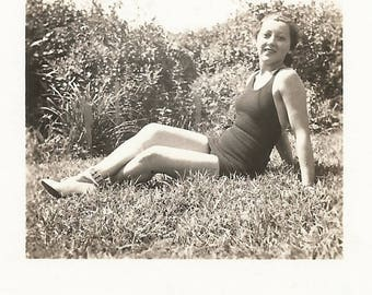 """Vintage Snapshot """"Bathing Beauty"""" Swimsuit Pretty Girl Leaning Back Pose Found Vernacular Photo"""