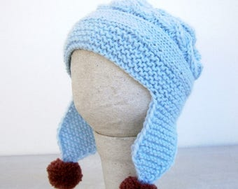 Baby Girl Hat With Flower - Baby Ear Flap Hat - Baby Girl Knit Hat