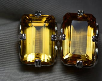 Citrine Earrings, Certified 43.89 Carat Citrine Stud Earrings Appraised 2,200.00 Sterling Silver, Real Statement Earrings, Emerald Cut