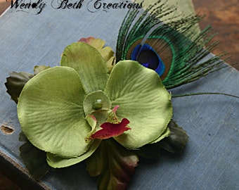 Lime Green Orchid Hair Clip Fascinator - Pin Up, Wedding, Belly Dance, ATS, Hair Garden, Tribal - Made Upon Order/Not Ready To Ship