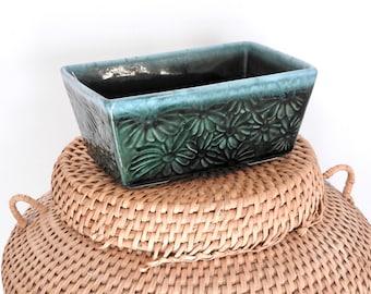 Hull Pottery Daisy Green and Blue Drip Glaze Rectangular Planter