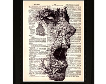 """Stones"""".Dictionary Art Print. Vintage Upcycled Antique Book Page. Fits 8""""x10"""" frame"""