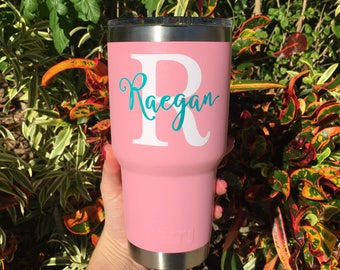 Personalized Monogram Vinyl Decal for Yeti Cup, 30oz Yeti Cup Decal, 30oz Yeti Cup Vinyl Sticker, 30oz Duracoat Monogram Decal, DECAL ONLY