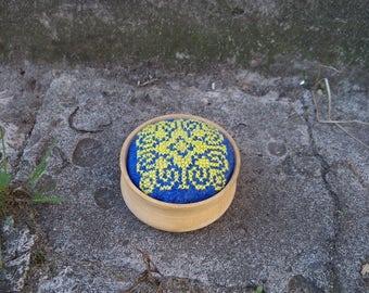 "Pincushion ""Yellow star"". Ready to ship. Pins & Nidles. Handmade. Hand Embroideri. Embroideri pincushion. Blue.Yellow.Haberdashery.Handmade"