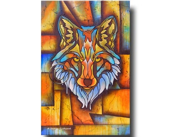 Spirit fox animal clan abstract energy painting wall hanging plaque animal guide and kingdom for the totem lover canvas print great gift