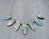 Abalone Shell Bib Necklace with Freshwater Pearls
