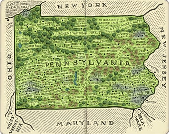 Map of Pennsylvania From Memory Print