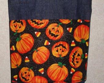 New Small Handmade Halloween Pumpkins Candy Corn Trick or Treat Denim Tote Bag