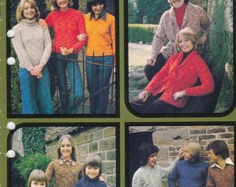 Patons Knitting Pattern Family Cottage Knit  Vintage 1970's No 500