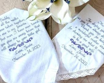 Embroidered Wedding Handkerchiefs wedding Gifs Wedding Day Gift Etsy Handkerchiefs Handmade by Canyon Embroidery