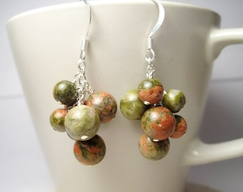 Unakite Cluster Earrings, Olive Green Earrings, Natural Stone Earrings, Green Gemstone Dangle Earrings