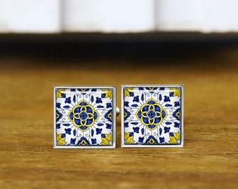 turkish Iznik cufflinks, Ethnic Floral Pattern, personalized cufflinks, custom wedding cufflinks, round, square cufflinks, tie clips, or set