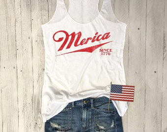 Merica Since 1776...Funny Beer Tank, Yoga Shirt, Gym Tank, Fitness Tank, Gym Tank, July 4th, Fouth of July, Star Spangled, Red White