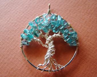 Tree of Life Apatite pendant, Apatite gemstone tree of life necklace, Silver tree of life with aqua gemstones