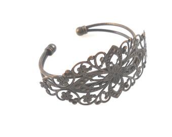 Filigree Brass Bracelet, Blank Bracelet for Collage and Embellishment, Antiqued Bronze Brass Bracelet, Blank Filigree Cuff Bracelet Bezel, 1