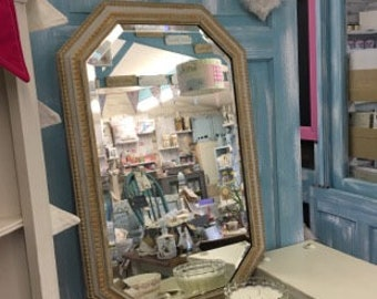 Gorgeous octagonal shabby chic mirror in french grey and gold.