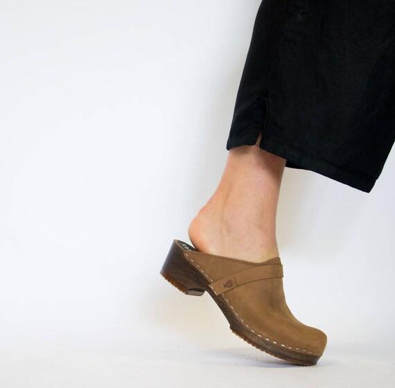565047d46f7 Low Heel Handmade Swedish Clogs for Women Wooden Base Slip Ins