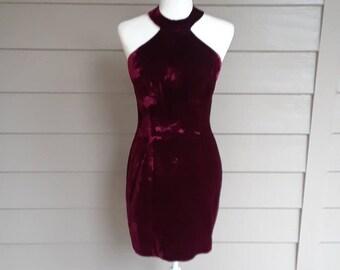 Garnet Crushed Velvet Dress