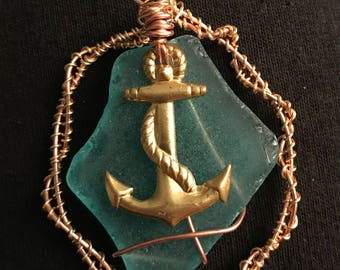 Wire wrapped beach glass pendant with anchor