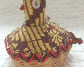 Vintage Fabric Chicken In A Basket Pin Cushion
