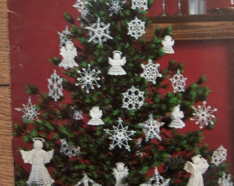 vintage 1983 crochet patterns snowflakes and angels  ornaments christmas