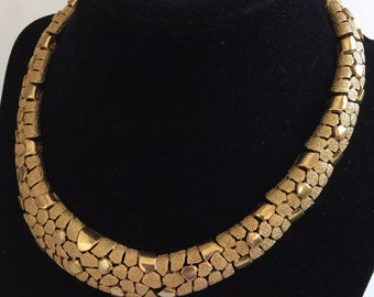 Art Deco or Mid Century Trifari Articulated Mosaic Design - Nubby & Smooth Goldtone Finishes - Vintage Trifari Necklace - Trifari Jewelry
