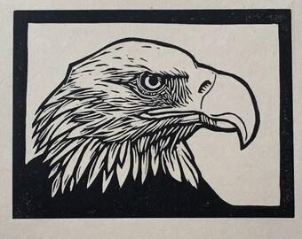Bald Eagle Linocut Print