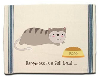 Funny cat kitchen towel, Whimsical Dish Towel, Tea Towel, Dish Cloth, Gift for Cat Lover, full bowl, Hostess Gift, Housewarming gift