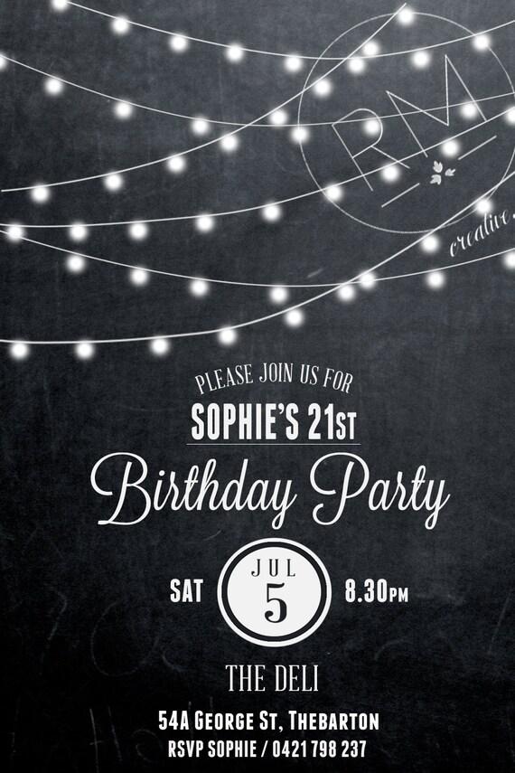 Birthday invitation 21st birthday invite black and white