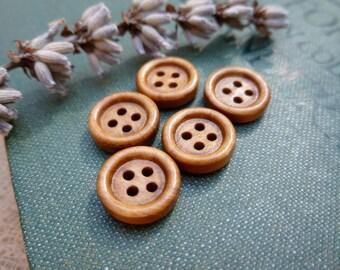 10x Wooden Button Little Button, Sewing, Dress Making Buttons Scrapbooking C579