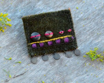 Handmade textile brooch. Olive green brooch with brass beads and embroidery