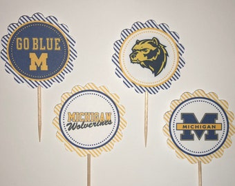 University of Michigan Wolverines - 12 cupcake toppers