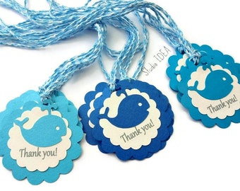12 Mixed Blue Whale Scallop Thank you Tags with Assorted Twine -Gift Tags, Favor Tags, Label -Set of 12 pcs
