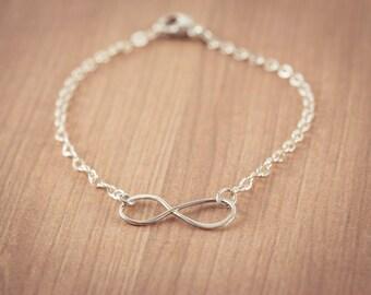 SALE! Infinity Love Bracelet,  Eternity Circle, Infinity Link,  Sterling Silver - Dainty Bracelet