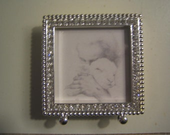 Jesus and the Lamb Mini Framed Print
