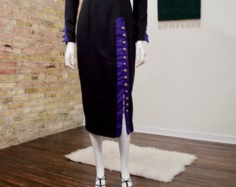 black column dress / 90s body con / midi dress / long sleeve dres s/ structured dress / small / button dress / square neckline / utilitarian