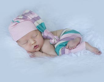 OAK RTS newborn girls photography prop outfit , girls pants and floppy hat photo prop , rainbow newborn outfit