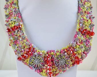 Crochet Crystal Beaded Necklace multicolor red and stone,Crochet Jewellery  Necklace Stone .