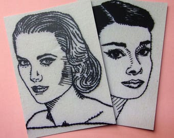 Old Hollywood postcard set - Grace Kelly and Audrey Hepburn hand embroidery art cards