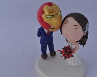 Iron man Groom. Wedding cake topper. Wedding figurine. Bride and Groom. Handmade. Fully customizable. Unique keepsake