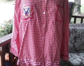 Red and White gingham Tunic trimmed with ribbon and military patch