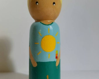 Wooden pegdoll peg doll summer sun lolly weather toy