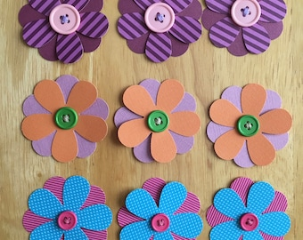 Set of 9 scrapbooking/papercrafting embellishment two-tone flowers with button centers -- purple, orange, pink, blue -- handmade