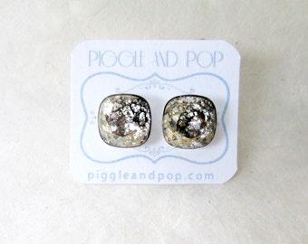 Swarovski Stud Earrings, Baroque Square Rhinestone Studs, Large Cushion Cut Crystal Studs, Granite Gold Patina, Faceted Fancy Stone Earrings