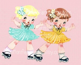 Retro Roller Skate Girl  Clip Art C-546 for Personal and Commercial Use, Scrapbooking, Cards, Heat Transfer Image